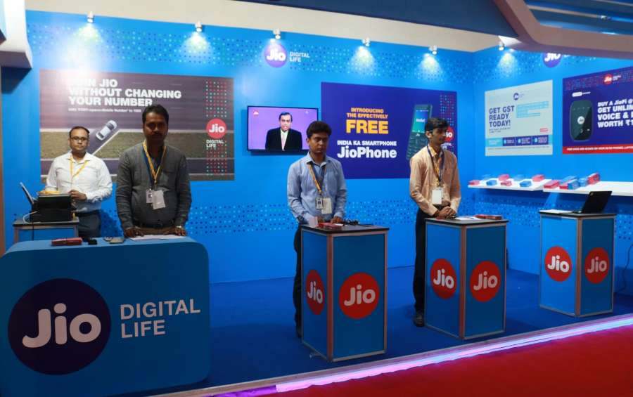 Greater Noida: A Reliance Jio stall at India International Mega Trade Fair in Greater Noida on Aug 4, 2017. (Photo: IANS) by .