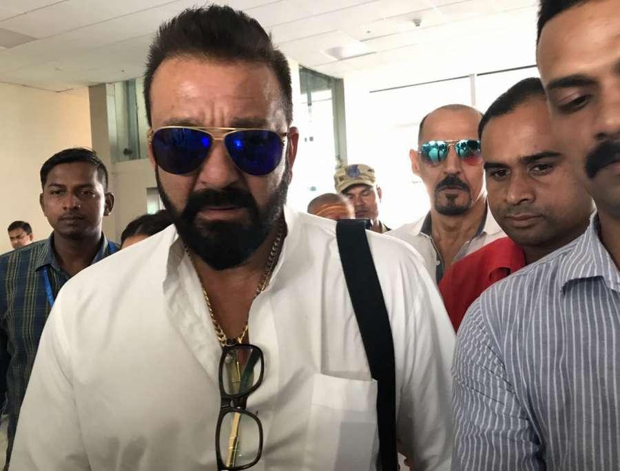 Babatpur: Actor Sanjay Dutt spotted at Lal Bahadur Shastri International Airport in Babatpur, Uttar Pradesh on Sept 13, 2017. (Photo: IANS) by .