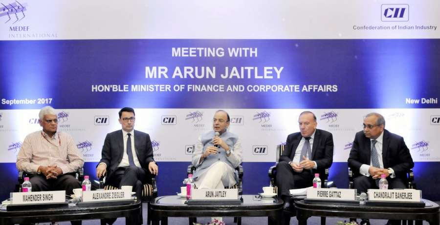 New Delhi: Union Minister for Finance and Corporate Affairs Arun Jaitley addresses at the French delegation of business leaders led by the President of MEDEF P Gattaz in New Delhi on Sept 26, 2017. (Photo: IANS/PIB) by .