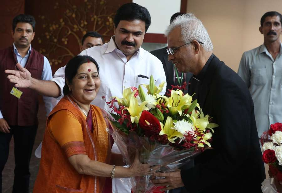 New Delhi: External Affairs Minister Sushma Swaraj meets Father Tom Uzhunnalil who was recently rescued from captivity in Yemen, in New Delhi on Sept 28, 2017. (Photo: IANS) by .