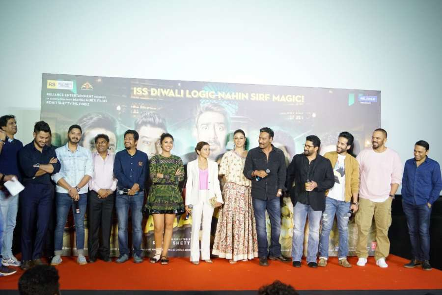 "Mumbai: Actors Ajay Devgan, Parineeti Chopra, Johnny Lever, Arshad Warsi, Tusshar Kapoor, Kunal Khemu, Johnny Lever, Shreyas Talpade and Director Rohit Shetty during the trailer launch of their upcoming film ""Golmaal Again"" in Mumbai on Sept 22, 2017. (Photo: IANS) by ."