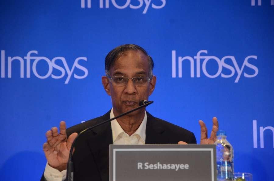 Mumbai: Infosys Chairman R Seshasayee addresses during a press conference in Mumbai on Feb 13, 2017. (Photo: Sandeep Mahankal/IANS) by .