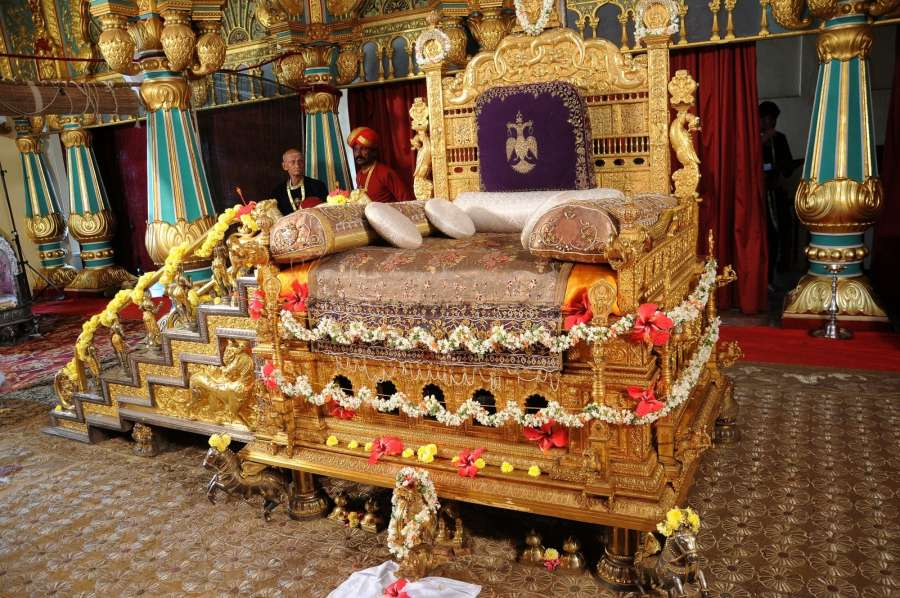 Mysuru: The Golden Throne at Amba Vilas (Durbar Hall) in Mysore Palace being prepared for the upcoming Dasara Festival 2017 in Mysuru on Sept 15, 2017. (Photo: IANS) by .