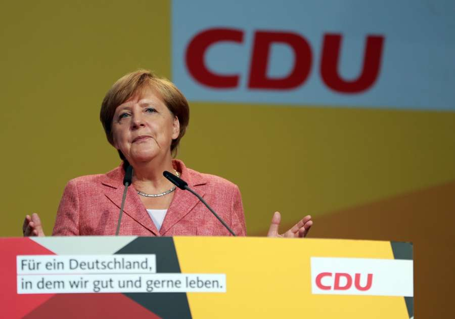 FULDA, Aug. 26, 2017 (Xinhua) -- German Chancellor Angela Merkel speaks during an election rally for Germany's federal election in Fulda, Germany, on Aug. 25, 2017. Germans will elect a new federal parliament on Sept. 24. (Xinhua/Luo Huanhuan/IANS) by .