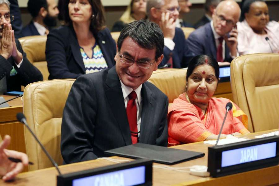 New York: External Affairs Minister Sushma Swaraj with world leaders at the UN meeting on climate change in New York on Sept. 19, 2017. (Photo: Mohammed Jaffer/IANS) by .