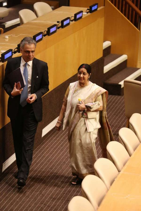 New York: External Affairs Minister Sushma Swaraj and India's Permanent Representative to the UN Syed Akbaruddin during United Nations General Assembly (UNGA) at the United Nations headquarters in New York on Sept. 18, 2017. (Photo: Mohammed Jaffer/IANS) by .