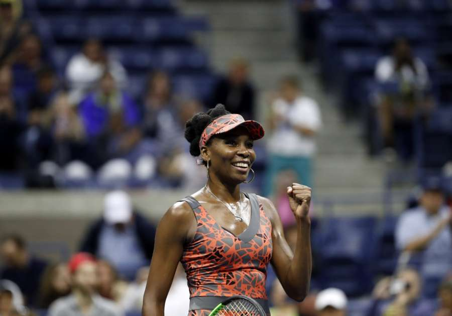 NEW YORK, Sept. 4, 2017 (Xinhua) -- Venus Williams of the United States celebrates after defeating Carla Suarez Navarro of Spain during the women's singles fourth round match at the 2017 U.S. Open in New York, the United States, Sept. 3, 2017. Venus Williams won 2-1 to enter the next round. (Xinhua/Qin Lang/IANS) by .