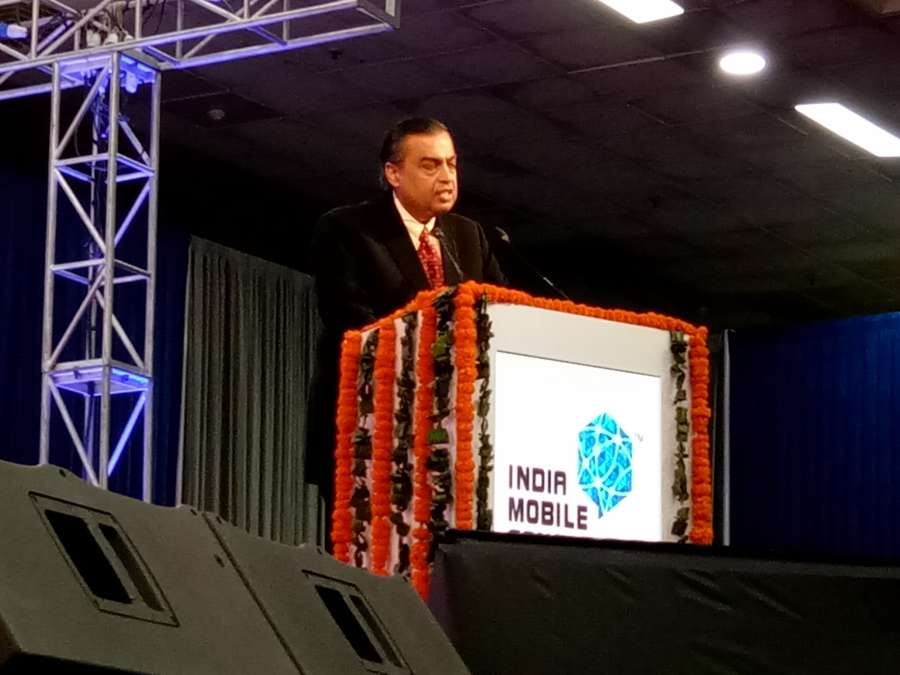 New Delhi: Reliance Industries's chairman Mukesh Ambani addresses during the India Mobile Congress organised by Department of Telecom in New Delhi on Sept 27, 2017. (Photo: Amlan Paliwal/IANS) by .
