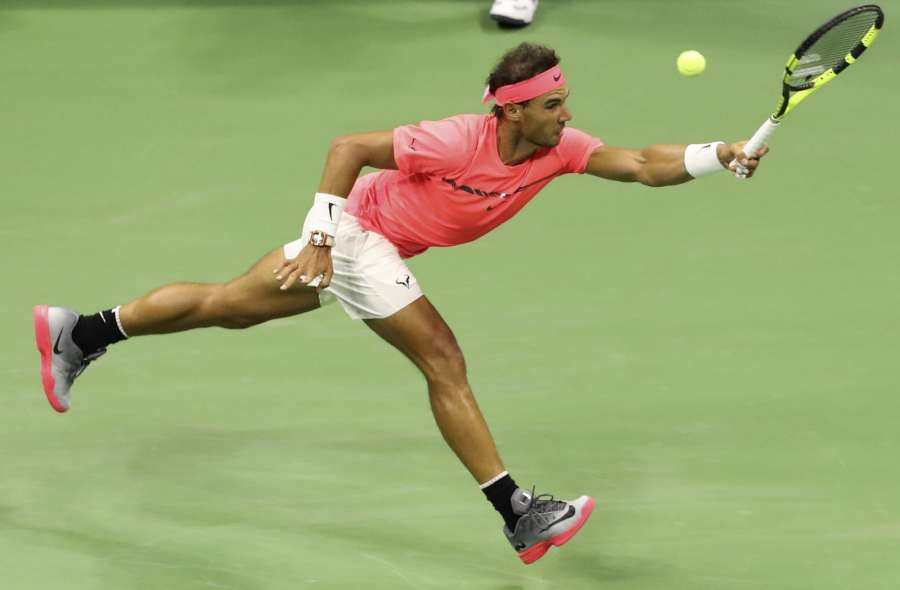 NEW YORK, Sept. 3, 2017 (Xinhua) -- Rafael Nadal of Spain hits a return during the men's singles third round match against Leonardo Mayer of of Agentina at the 2017 US Open in New York, the United States, Sept. 2, 2017. Nadal won 3-1. (Xinhua/Wang Ying/IANS) by .