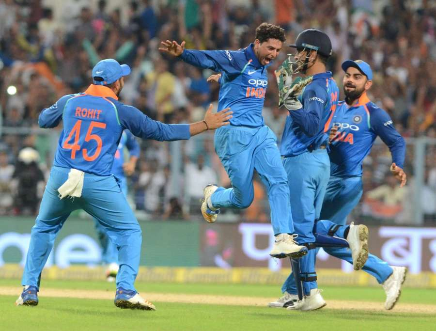 Kolkata: India's Kuldeep Yadav celebrates as he gets his first hat-trick during the second ODI cricket match between India and Australia at Eden Gardens in Kolkata on Sept 21, 2017. (Photo: Kuntal Chakrabarty/IANS) by .