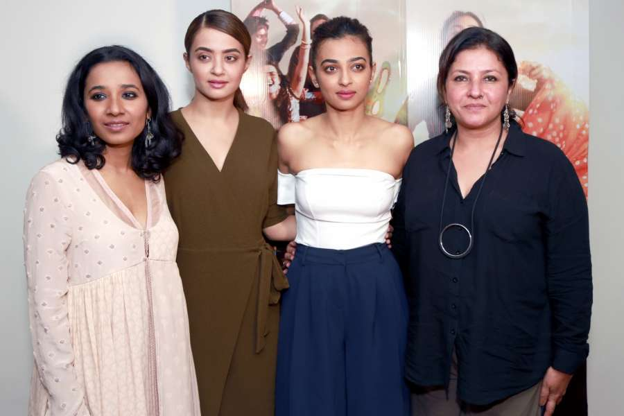 New Delhi: Actresses Radhika Apte, Surveen Chawla, Tannishtha Chatterjee and filmmaker Leena Yadav during a press conference of their film