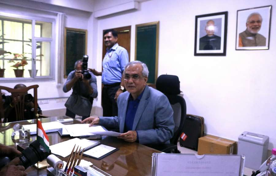 New Delhi: Economist Rajiv Kumar takes charge as the vice-chairman of NITI Aayog in New Delhi on Sept 1, 2017. (Photo: IANS) by .
