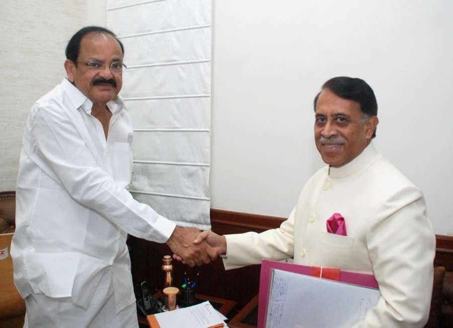 New Delhi: Newly appointed Rajya Sabha Secretary General Desh Deepak Verma calls on Vice President and Rajya Sabha Chairman M. Venkaiah Naidu in New Delhi on Sept 1, 2017. (Photo: IANS/PIB) by .