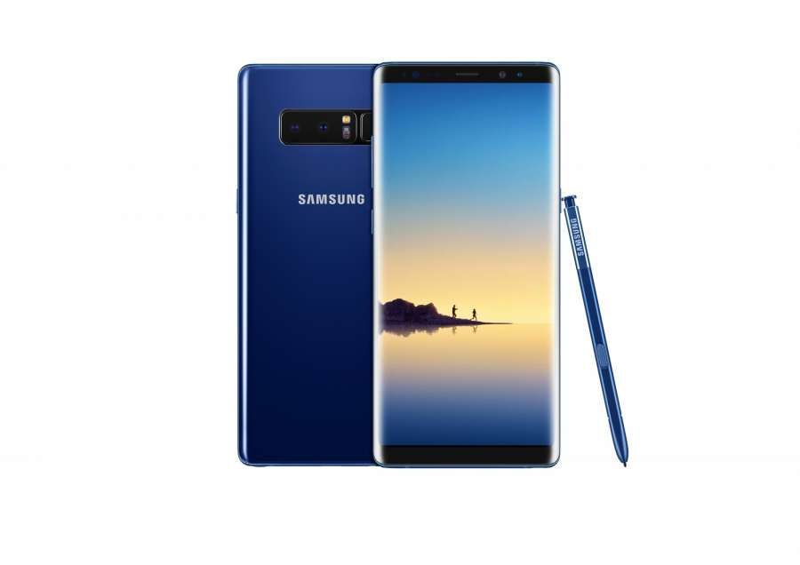 New York: Shown is Samsung Electronics Co.'s Galaxy Note 8 phablet. Samsung introduced the 6.3-inch display and a dual-lens camera setup at a showcase at Park Avenue Armory in New York on Aug. 23, 2017. The Galaxy Note 8 is slightly larger than the 6.2-inch Galaxy S8 Plus released earlier this year, making it the largest Note to date. (Yonhap/IANS) by .