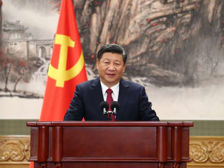 BEIJING, Oct. 25, 2017 (Xinhua) -- Xi Jinping, general secretary of the Central Committee of the Communist Party of China (CPC), speaks when meeting the press at the Great Hall of the People in Beijing, capital of China, Oct. 25, 2017. Xi Jinping and the other newly-elected members of the Standing Committee of the Political Bureau of the 19th CPC Central Committee Li Keqiang, Li Zhanshu, Wang Yang, Wang Huning, Zhao Leji and Han Zheng met the press on Wednesday. (Xinhua/Xie Huanchi/IANS) by .