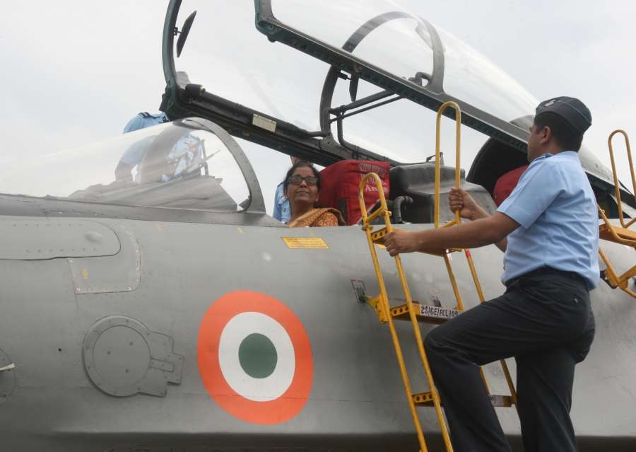 Tezpur: Union Defence Minister Nirmala Sitharaman inside the cockpit of the state-of-the-art fighter aircraft Sukhoi 30 MKI, during her visit to the Air Force Station in Tezpur, Assam on Oct 8, 2017. (Photo: IANS/PIB) by .