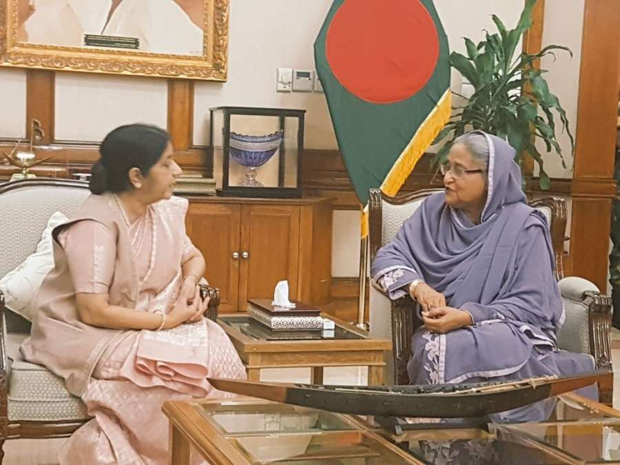 Dhaka: A photograph tweeted by Official Spokesperson of Ministry of External Affairs, Raveesh Kumar where External Affairs Minister Sushma Swaraj is seen with Bangladesh Prime Minister Sheikh Hasina in Dhaka, Bangladesh on Oct 22, 2017. (Photo: Twitter/@MEAIndia) by .
