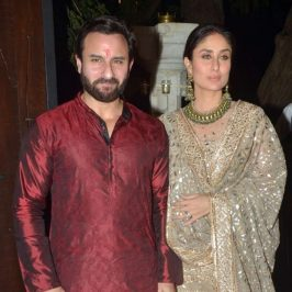Mumbai: Actors Saif Ali Khan and Kareena Kapoor during a Diwali party hosted by actor Anil Kapoor in Mumbai, on Oct 19, 2017. (Photo: IANS) by .