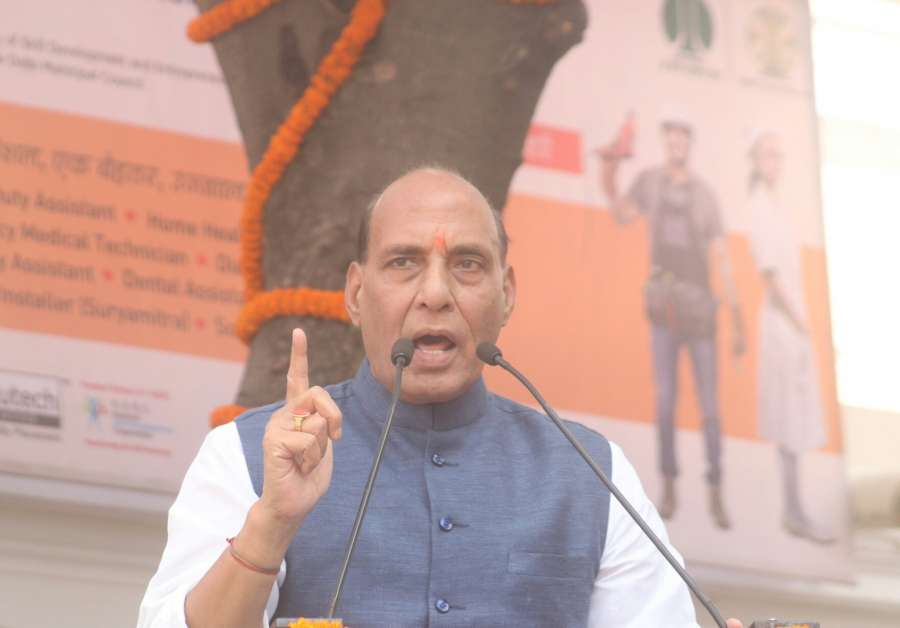 New Delhi: Union Home Minister Rajnath Singh addresses during inauguration of the Pradhan Mantri Kaushal Kendra, at Mandir Marg, in New Delhi on Oct 23, 2017. (Photo: IANS) by .