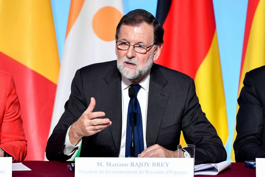 PARIS, Aug. 28, 2017 (Xinhua) -- Spanish Prime Minister Mariano Rajoy Brey addresses a joint press conference at the Elysee Palace in Paris, France on Aug. 28, 2017. The leaders of France, Germany, Spain and Italy on Monday vowed to strengthen support for African countries in an effort to stem illegal migration. The leaders issued a joint statement Monday evening following a meeting in Paris on migration, in which they were joined by their counterparts of Niger and Chad, along with head of Libya's United Nations (UN)-backed government and foreign policy chief of the European Union (EU). (Xinhua/Chen Yichen/IANS) by .