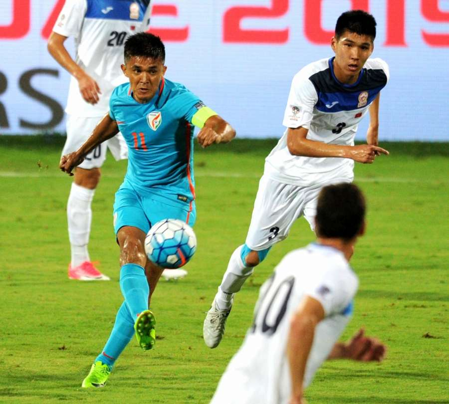 Sunil Chhetri of India in action against Kyrgyz Republic during an AFC Asian Cup UAE 2019 qualifying match in Bengaluru on June 13, 2017. (Photo: IANS) by .
