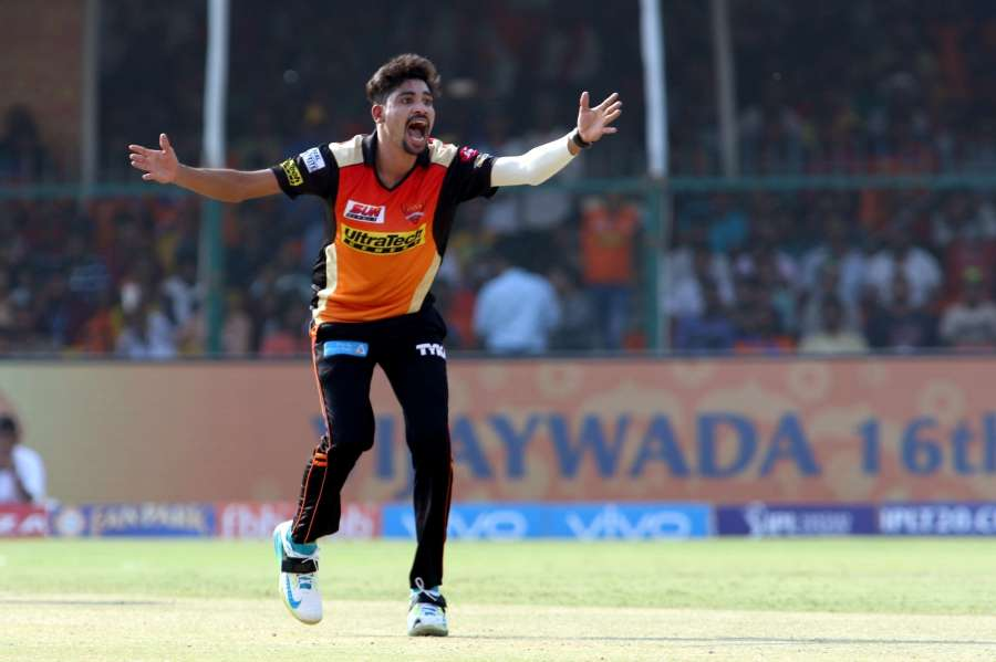 Kanpur: Mohammed Siraj of Sunrisers Hyderabad appeals for a wicket during an IPL 2017 match between Gujarat Lions and Sunrisers Hyderabad at Green Park in Kanpur on May 13, 2017. (Photo: Surjeet Yadav/IANS) by .