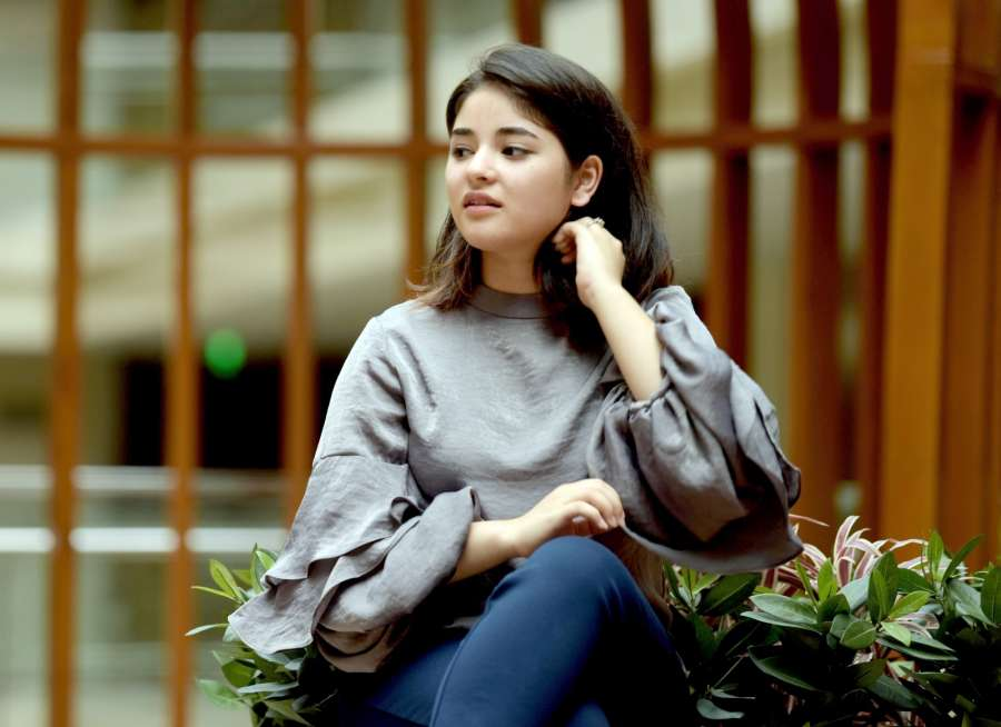 "Jaipur: Actress Zaira Wasim during a press conference organised to promote her upcoming film ""Secret Superstar"" in Jaipur, on Oct 14, 2017. (Photo: Ravi Shankar Vyas/IANS) by ."
