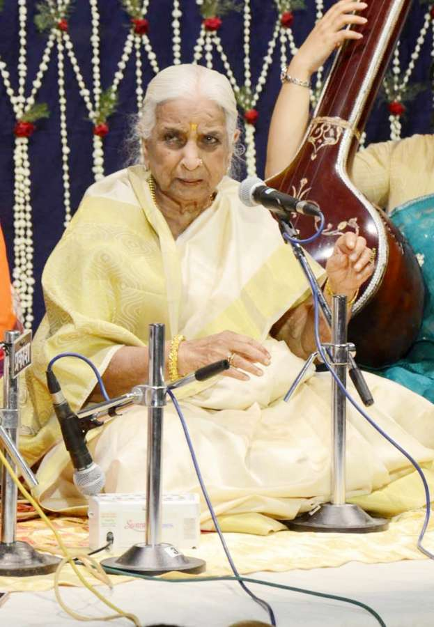 Varanasi: Legendary classical singer Girija Devi performs during a programme in Varanasi on April 21, 2017. (Photo: IANS) by .