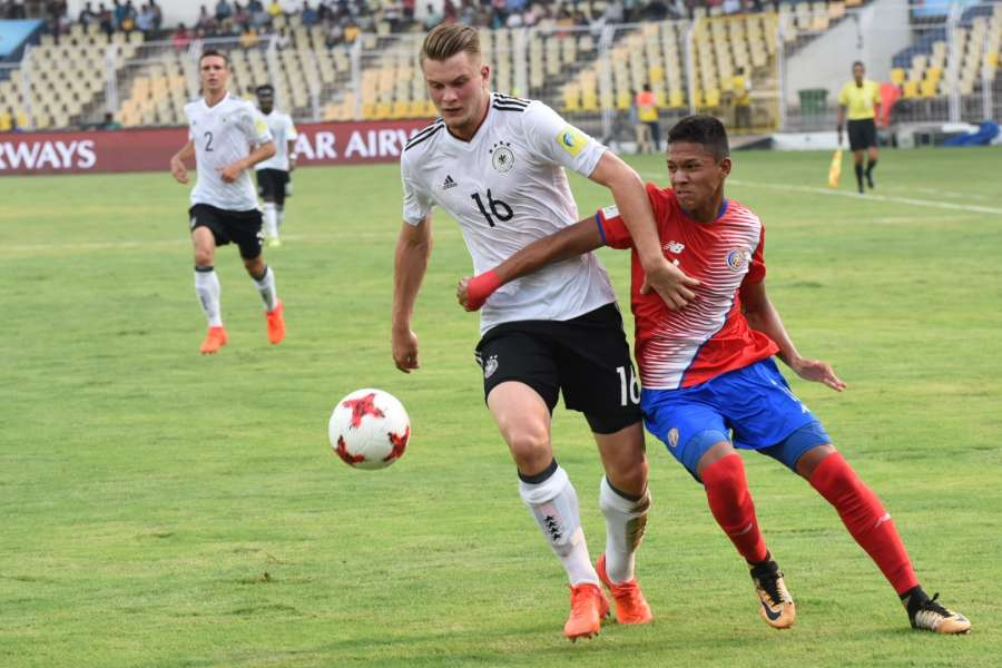 Fatorda: Players in action during a FIFA U-17 World Cup Group C match between Costa Rica and Germany in Fatorda, Goa on Oct 7, 2017. (Photo: IANS) by .