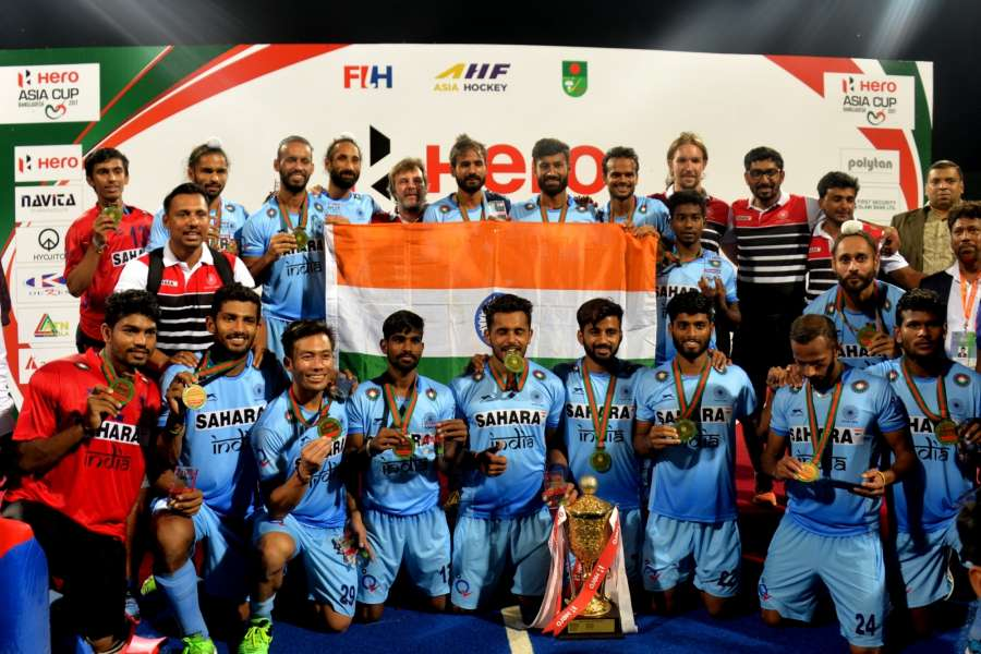DHAKA, Oct. 23, 2017 (Xinhua) -- Team members of India celebrate with the trophy after the awarding ceremony for Asia Cup Hockey 2017 in Dhaka, Bangladesh, on Oct. 22, 2017. India clinched the title for the third time by defeating Malaysia with 2-1 in the final. (Xinhua/Salim Reza/IANS) by .