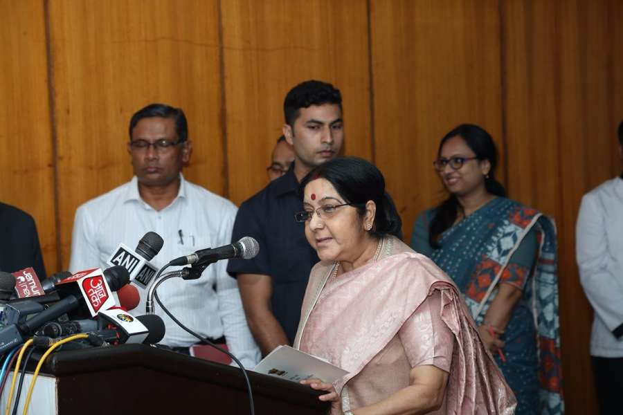 Dhaka: A photograph tweeted by Official Spokesperson of Ministry of External Affairs, Raveesh Kumar where External Affairs Minister Sushma Swaraj is seen giving press statement in Dhaka, Bangladesh on Oct 22, 2017. (Photo: Twitter/@MEAIndia) by .