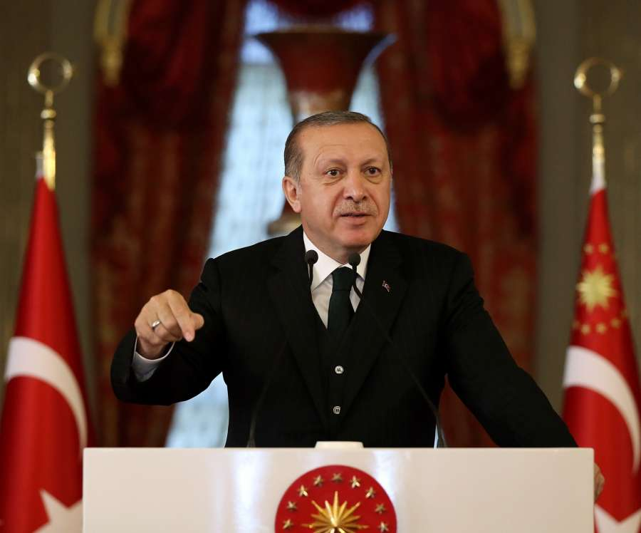 ISTANBUL, Oct. 20, 2017 (Xinhua) -- Turkish President Recep Tayyip Erdogan addresses a press conference in Istanbul, Turkey, on Oct. 20, 2017. Turkish President Recep Tayyip Erdogan on Friday denounced the United States, France and Germany over their support for the outlawed Kurdistan Workers' Party (PKK). (Xinhua/Anadolu Agency/IANS) by .