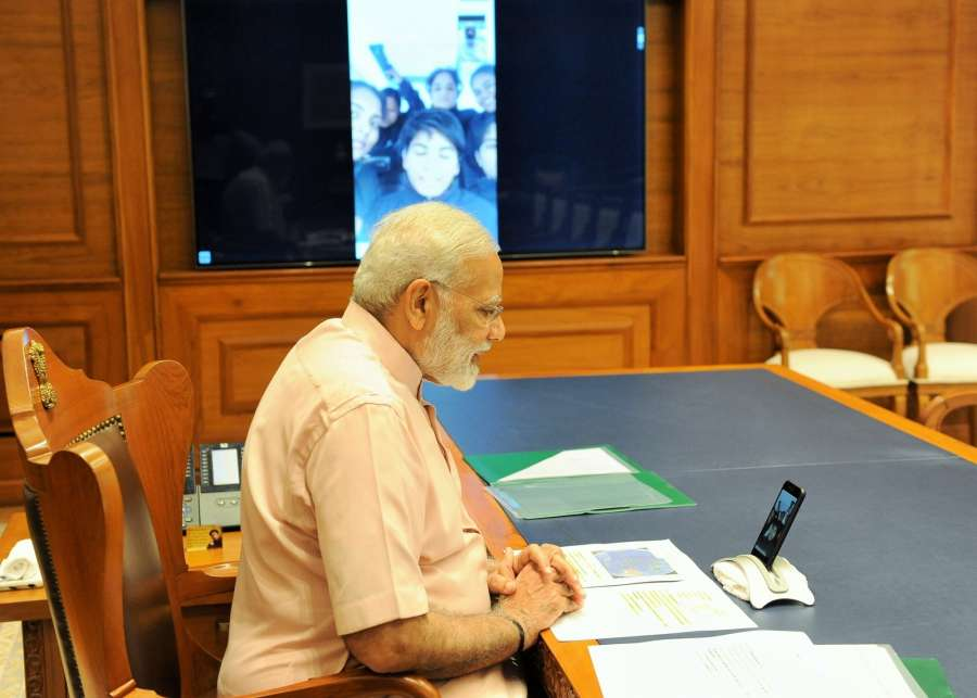 New Delhi: Prime Minister Narendra Modi wishes the crew of INSV Tarini Happy Diwali on behalf of the nation via video call, in New Delhi on Oct 19, 2017. (Photo: IANS/PIB) by .