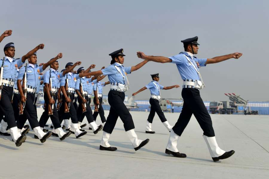 Ghaziabad: Air Warriors during the 85th Air Force Day parade at Hindon Air Force base in Ghaziabad on Oct 8, 2017. (Photo: IANS) by .