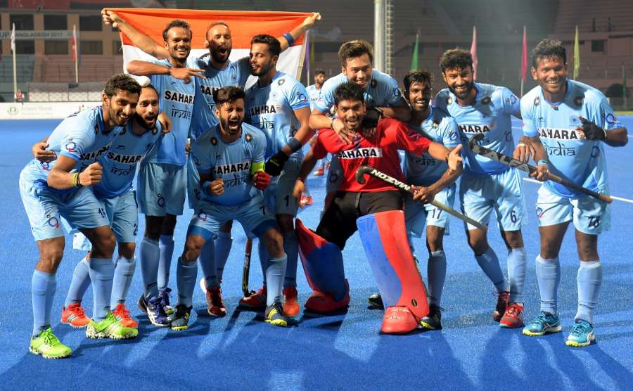 DHAKA, Oct. 23, 2017 (Xinhua) -- Players of India celebrate after winning the final of Asia Cup Hockey 2017 in Dhaka, Bangladesh, on Oct. 22, 2017. India clinched the title for the third time by defeating Malaysia with 2-1 in the final. (Xinhua/Salim Reza/IANS) by .