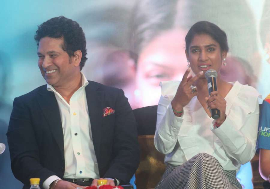 New Delhi: Cricket legend Sachin Tendulkar and Indian women cricketer Mithali Raj during a panel discussion on International Day of the Girl Child in New Delhi on Oct 11, 2017. (Photo: IANS) by .