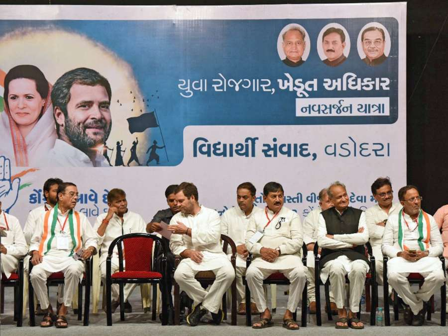 Congress Vice President Rahul Gandhi during an interaction with students at in Vadodara of Gujarat on Oct 10, 2017. (Photo: IANS) by .
