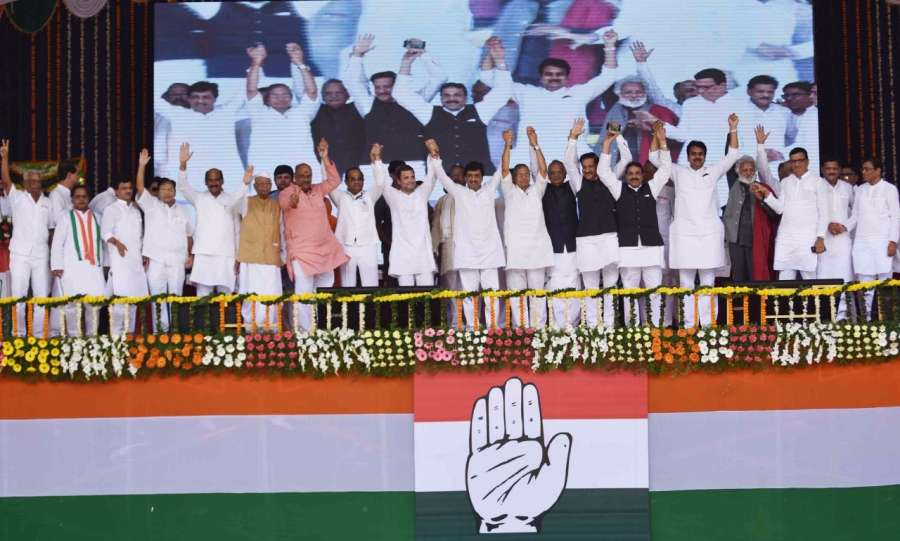 Nanded: Congress Vice-President Rahul Gandhi during a farmers rally in Nanded on Sept 8, 2017. (Photo: IANS) by .