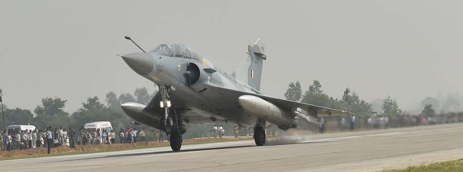 Unnao: An IAF fighter aircraft lands on a stretch of the Lucknow-Agra Expressway in Unnao on Oct 24, 2017. IAF shows that highways can be used as landing strips in case of any emergency. (Photo: IANS) by .