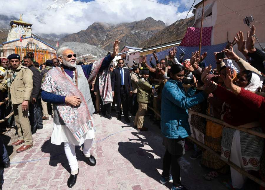 Kedarnath: Prime Minister Narendra Modi interacts with the people at Kedarnath, in Uttarakhand on Oct 20, 2017. (Photo: IANS/PIB) by .
