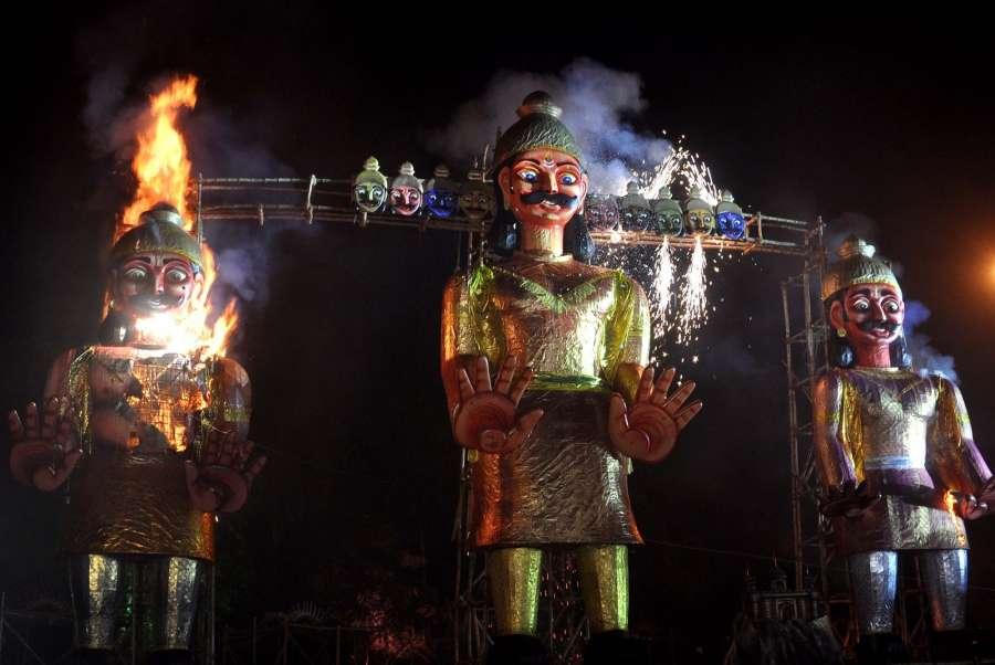 Kolkata: A 60 feet-tall Ravana effigy being burnt at Salt Lake on Dussehra in Kolkata on Sept 30, 2017. (Photo: Kuntal Chakrabarty/IANS) by .