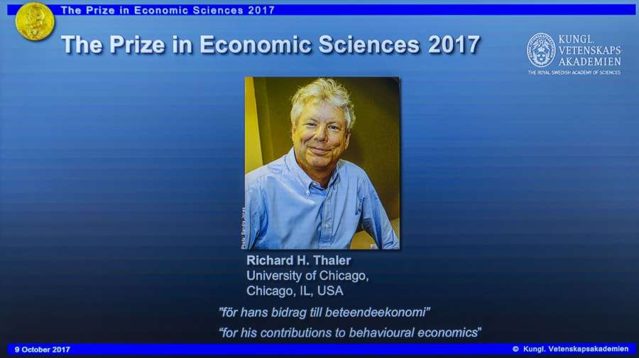 STOCKHOLM, Oct. 9, 2017 (Xinhua) -- Photo of Richard H. Thaler is displayed on the screen during the press conference to announce the winner of the 2017 Nobel Prize in Economics in Stockholm, Sweden, on Oct. 9, 2017. The 2017 Nobel Prize in Economics, or officially the Sveriges Riksbank Prize in Economic Sciences in Memory of Alfred Nobel, was awarded to Richard H. Thaler