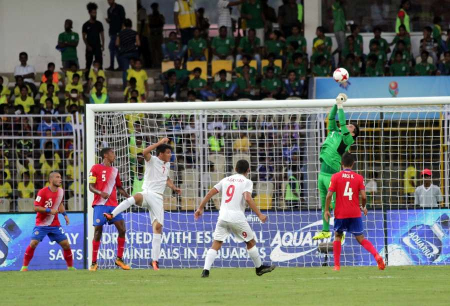 Fatorda: Players in action during a FIFA U-17 World Cup Group C match between Costa Rica and Iran at Pandit Jawaharlal Nehru Stadium in Fatorda, Goa on Oct 13, 2017. (Photo: IANS) by .