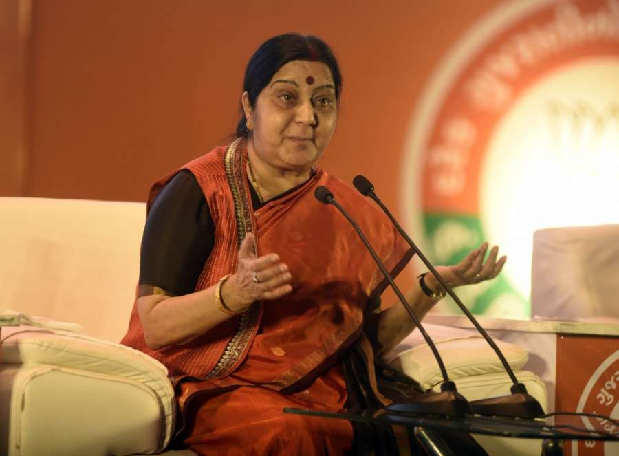 Ahmedabad: External Affairs Minister Sushma Swaraj addresses at a 'Mahila Town Hall' in Ahmedabad on Oct 14, 2017. (Photo: IANS) by .