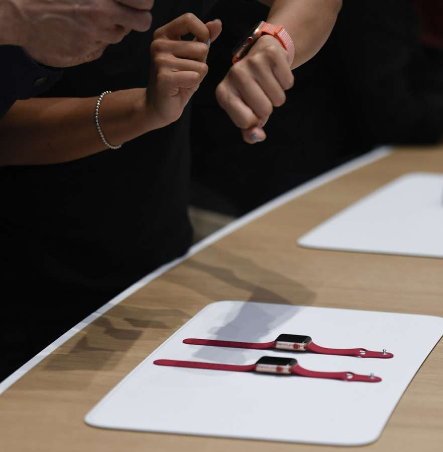 CUPERTINO (U.S.), Sept. 12, 2017 (Xinhua) -- People try new Apple Watch during a special event in Cupertino, California, the United States on Sept. 12, 2017. Apple Inc. released a series of new products and services in Cupertino on Tuesday. (Xinhua/IANS) by .