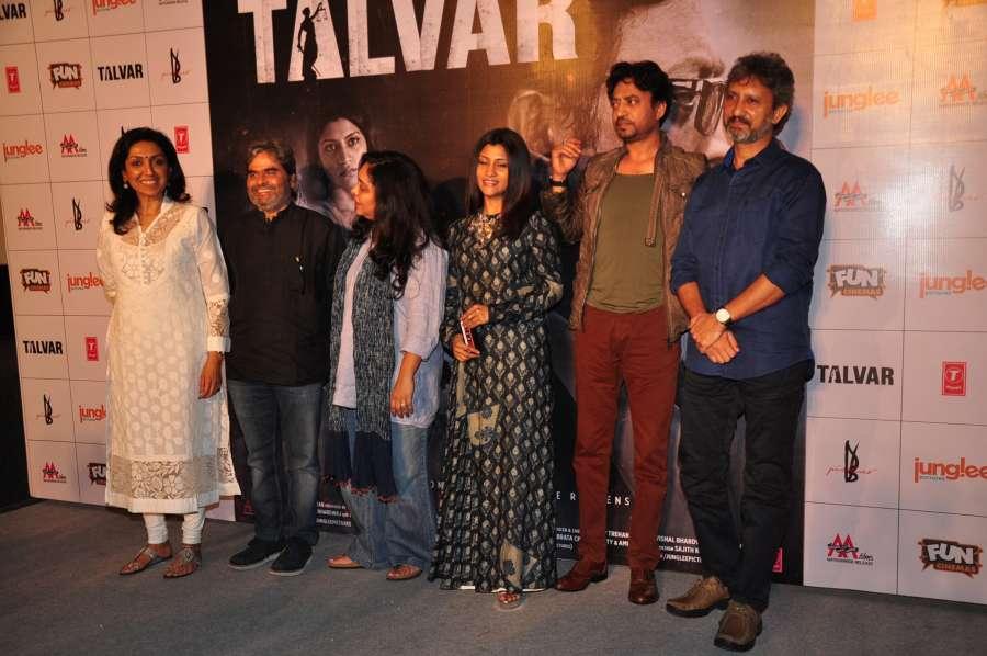 Mumbai: Filmmakers Priti Shahani, Vishal Bhardwaj, Meghna Gulzar, actors Konkona Sen Sharma, Irrfan Khan and Neeraj Kabi during the trailer launch of film Talvar in Mumbai on Aug 22, 2015. (Photo: IANS) by .