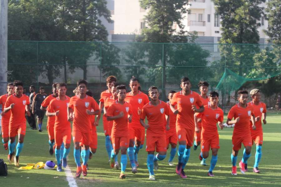 Gurugram: Members of the Indian U-17 National Team - The Indian Colts during their first training session ahead of the FIFA U-17 World Cup at the Conscient Football ground in Gurugram on Sept 27, 2017. (Photo: IANS) by .