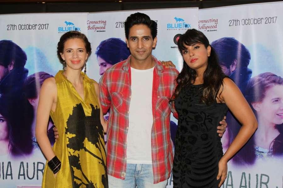 Mumbai: Actors Kalki Koechlin, Arslan Goni and Richa Chadda during the promotion of their upcoming film