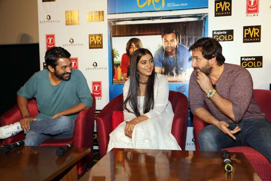 New Delhi: Actors Saif Ali Khan and Padmapriya Janakiraman along with Director Raja Krishna Menon during the promotions of their upcoming film