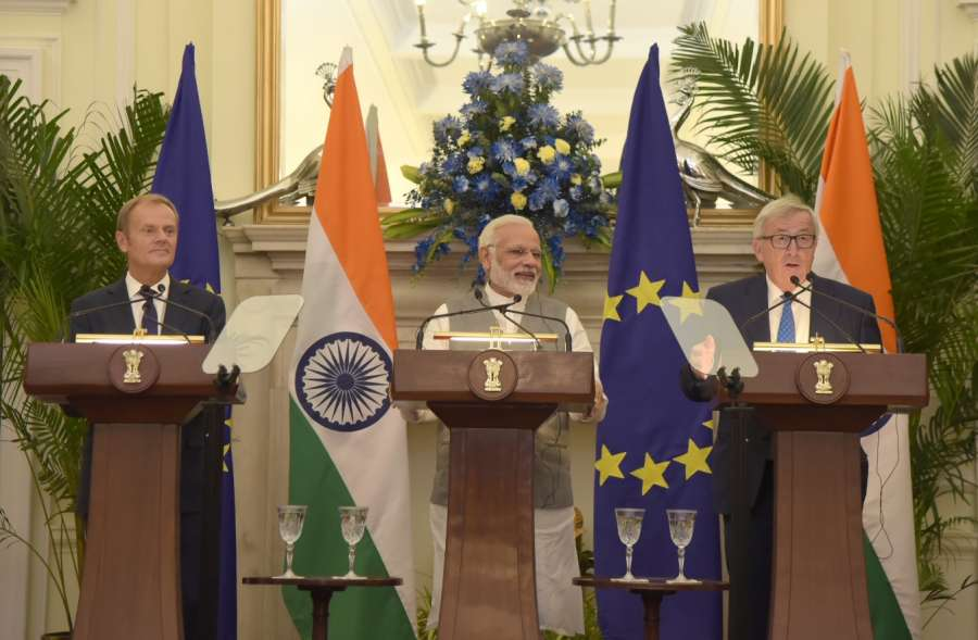 New Delhi: Prime Minister Narendra Modi, European Council President Donald Franciszek Tusk and European Commission President Jean-Claude Juncker during the joint press statement at Hyderabad House in New Delhi on Oct 6, 2017. (Photo: IANS/PIB) by .